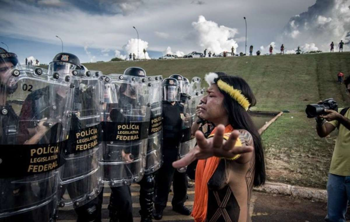 Brazilian Indians have been protesting in Brasilia against the governments anti-indigenous proposals.