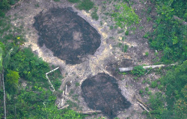 Evidence of an attack? Burnt communal houses of uncontacted Indians, seen in December 2016, could be signs of another massacre in the Uncontacted Frontier.