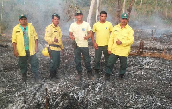 Indigenous firefighters in Arariboia Indigenous territory, Brazil.