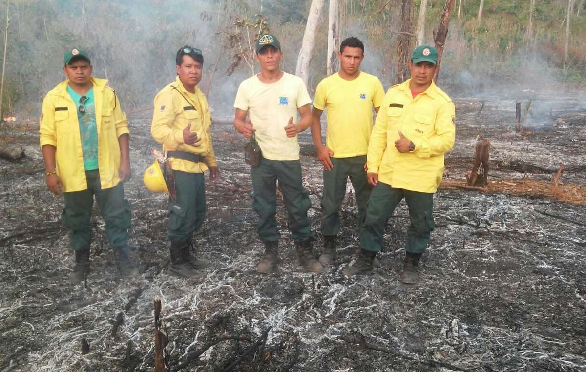 Guajajara firefighters during a previous operation to battle forest fires in the Awá's territory.