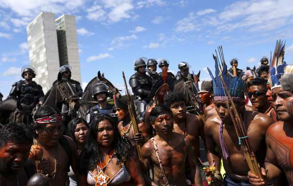 Indigenous people from across the nation have gathered in Brazil's capital to call for their lands and rights to be respected