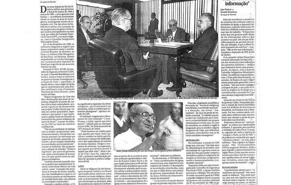"""Artikel im Correio Braziliense, April 1998, der Jair Bolsonaros Zitat enthält: """"Es ist eine Schande, dass die brasilianische Kavallerie nicht so effektiv war wie die Amerikaner, die ihre Indianer ausgerottet haben."""""""