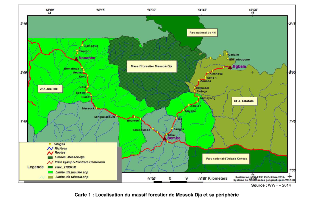 A map showing the planned conservation zone, Messok Dja, on land that the Baka and Bakwele tribes rely on for survival