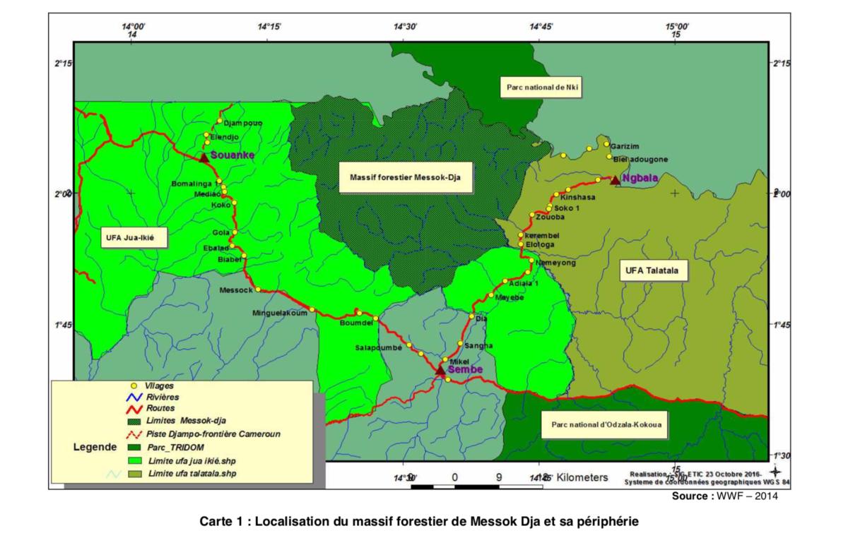 Eine Karte zeigt die geplante Naturschutzzone Messok Dja auf dem Gebiet, von dem die Baka und Bakwele leben.