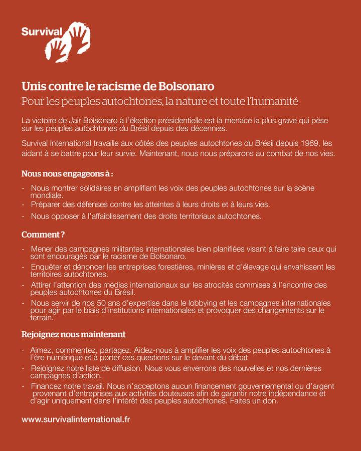 Déclaration de Survival suite à l'élection de Jair Bolsonaro