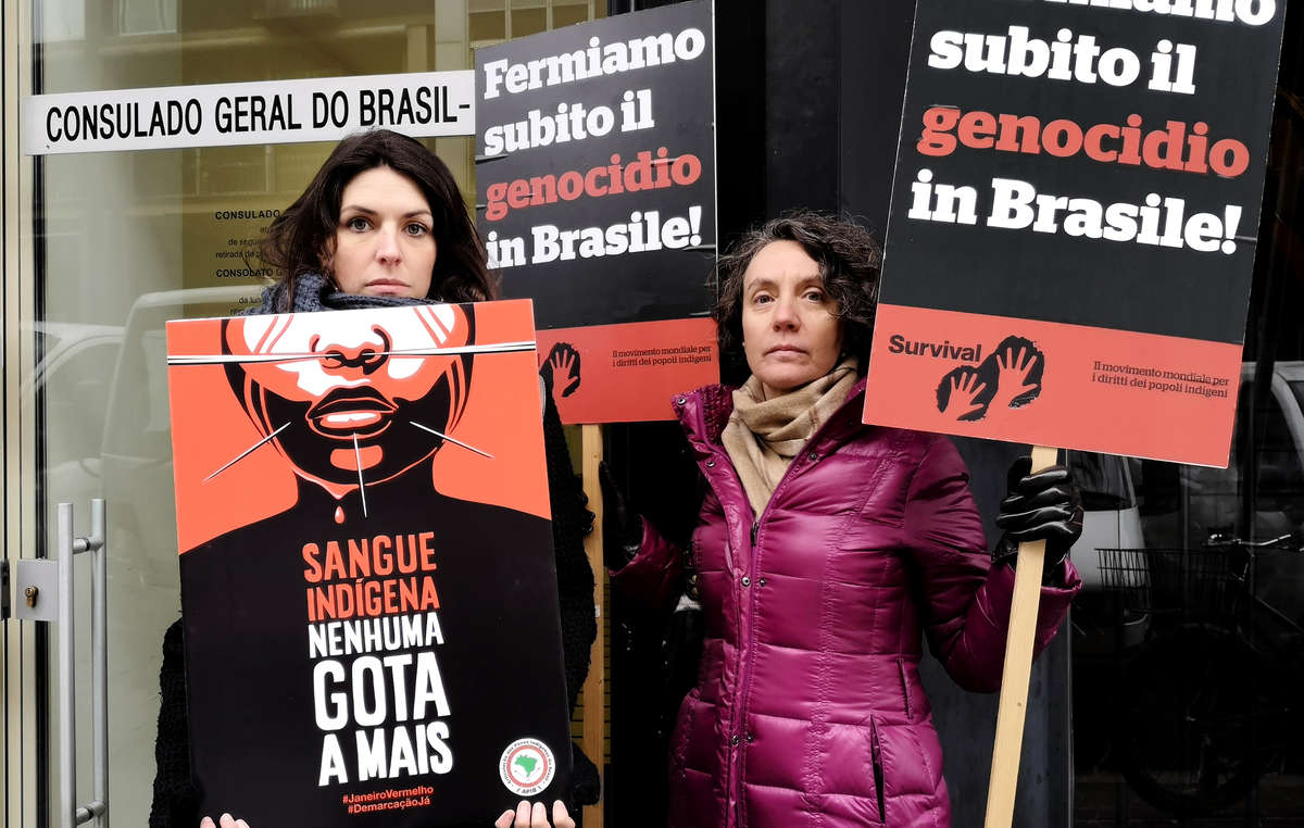 Protesters in Milan, Italy outside the Brazilian Consulate.