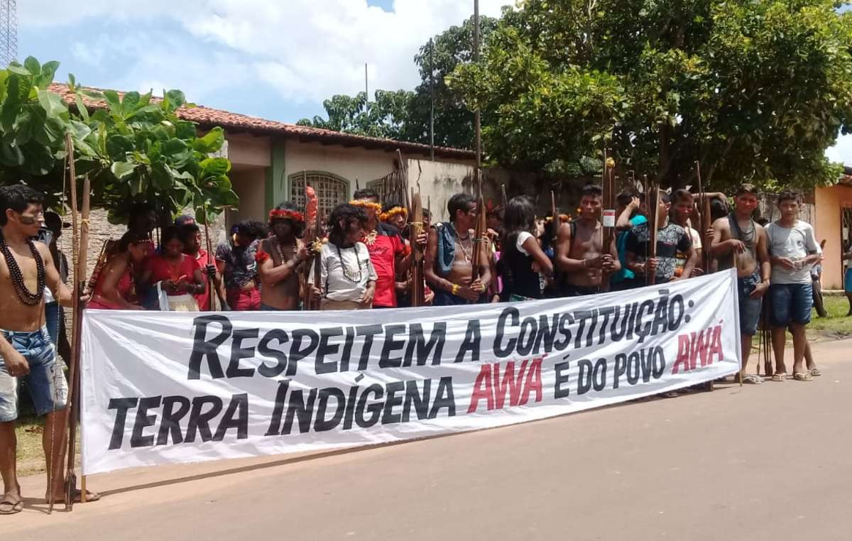 Manifestantes do povo indígena Awá, Maranhão