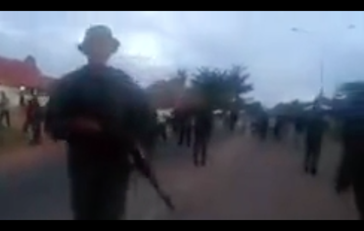 Still from a video sent to Survival of the Venezuelan military opening fire on a group of Pemon Indians, February 22nd, 2019