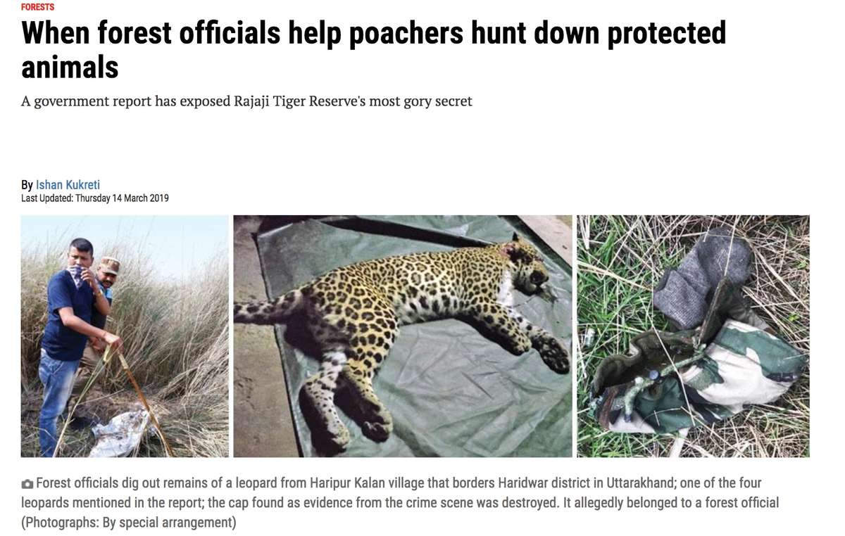 The collusion between officials and poachers was exposed in India's Down to Earth magazine
