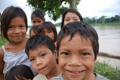 Kichwa Indian children from a village close to Repsol's project