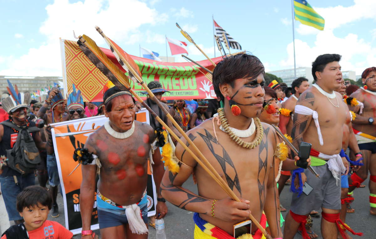 "Indigenes Protestcamp ""Acampamento Terra Livre 2019"" in Brasilia, April 2019."