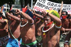 Over 700 Brazilian Indians from more than 230 tribes protested in May 2011 to urge the government to respect their rights, Brasília. Controversial projects such as the Belo Monte dam and Madeira river dams currently being built in the Amazon threaten their way of life.