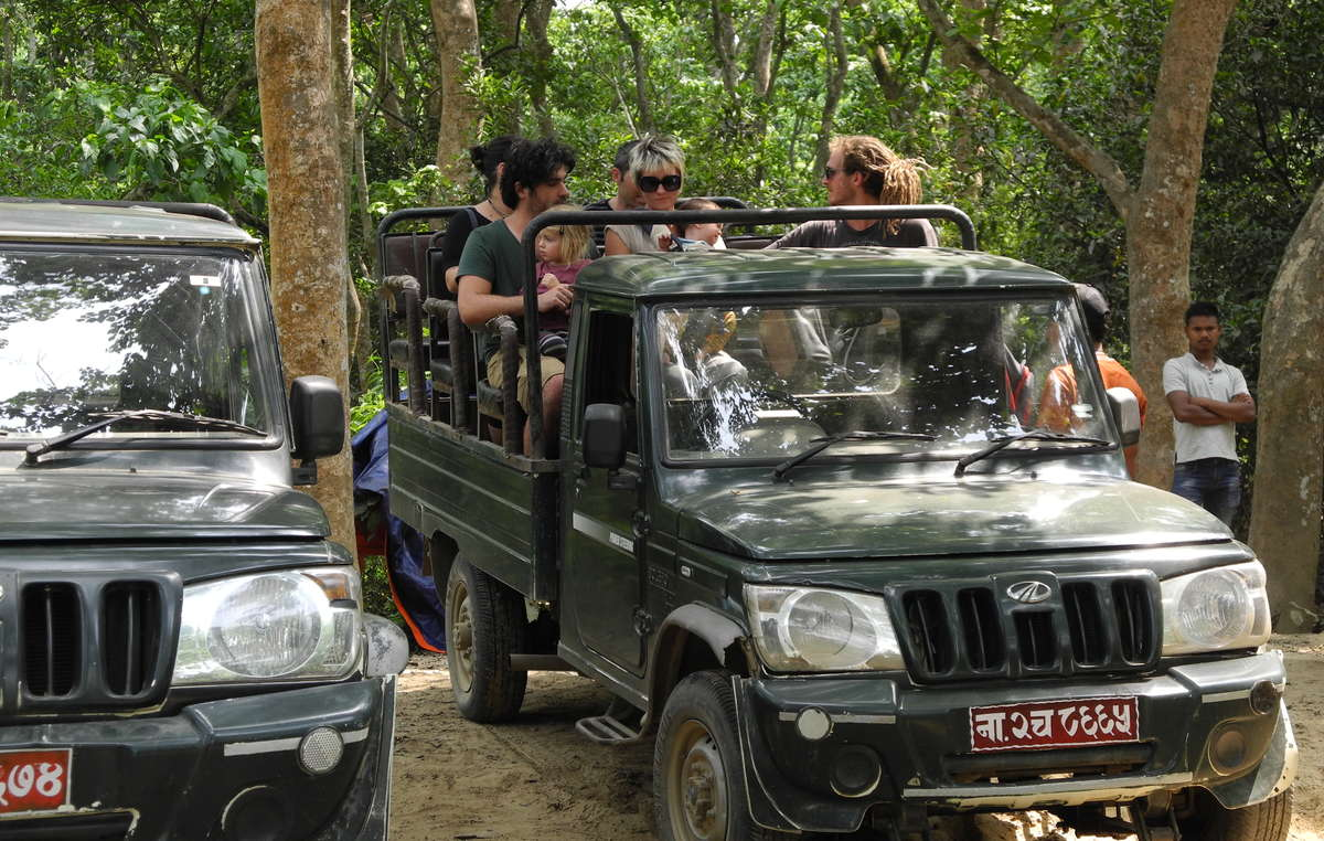 Tourists in Chitwan National Park. Indigenous peoples were evicted from the Park but fee-paying tourists are welcomed in.