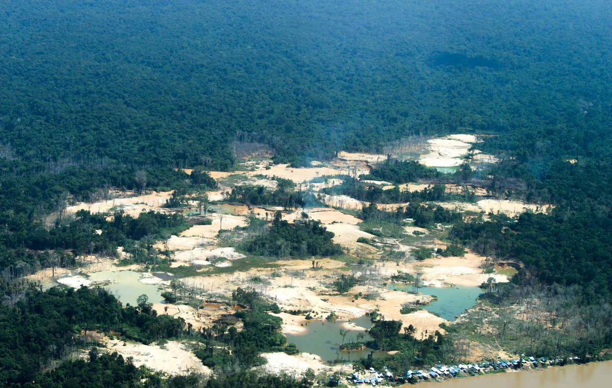One of the many illegal gold mining sites in the Yanomami territory