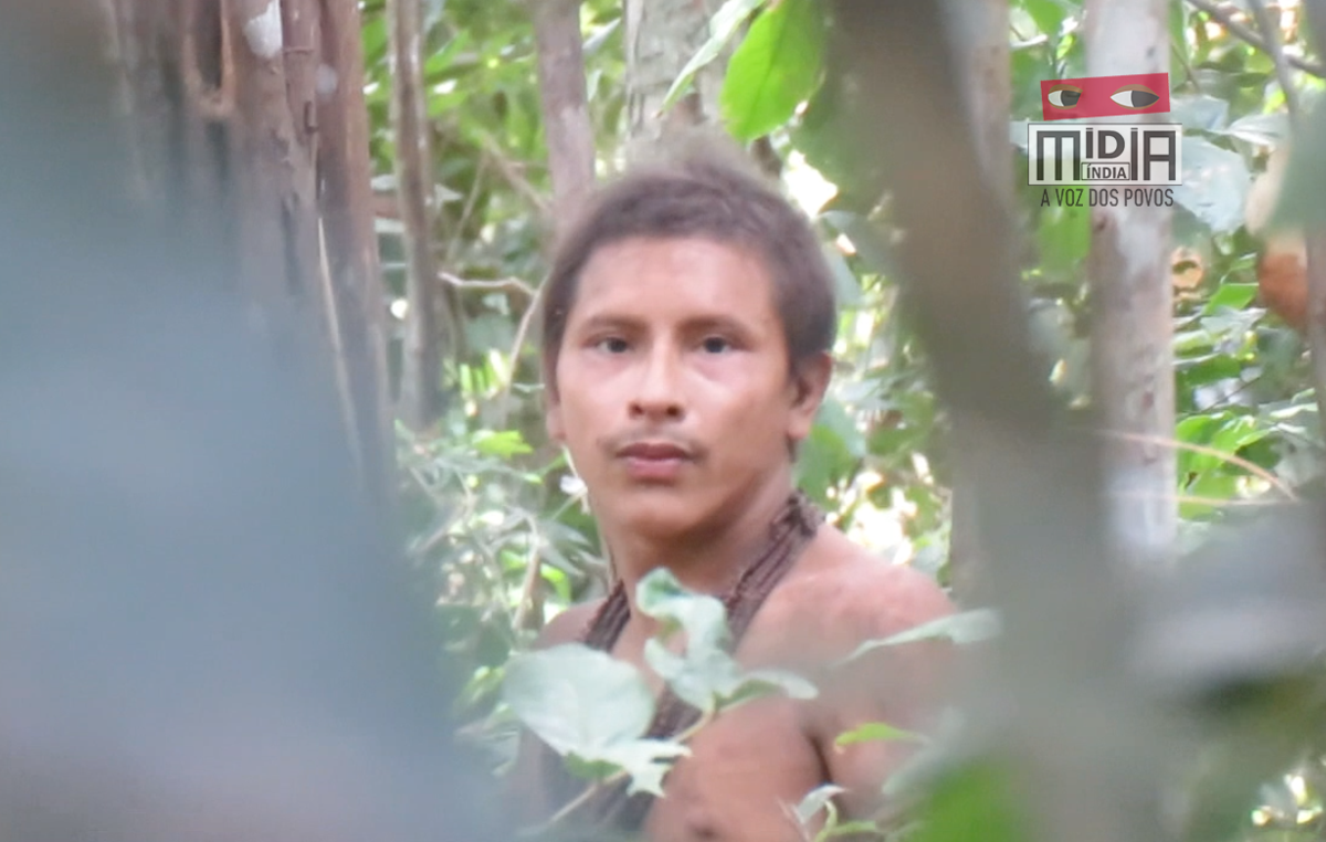 This uncontacted Awá man's name is not known. But his rainforest has been destroyed around him, and just one small island of forest is now left. Loggers are now moving in. © Mídia Índia