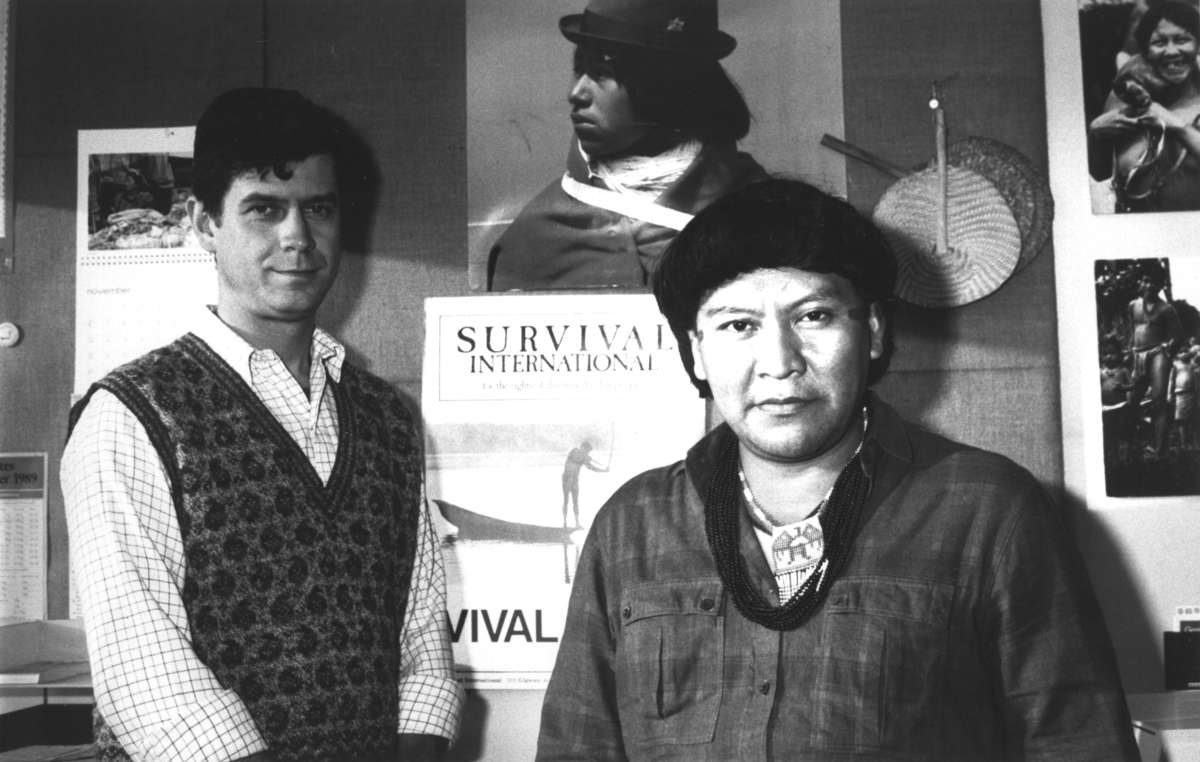 Davi Yanomami and Survival International Director Stephen Corry in 1989, on Davi's first trip outside Brazil: Survival won the Right Livelihood Award, and asked Davi to accept it on Survival's behalf.