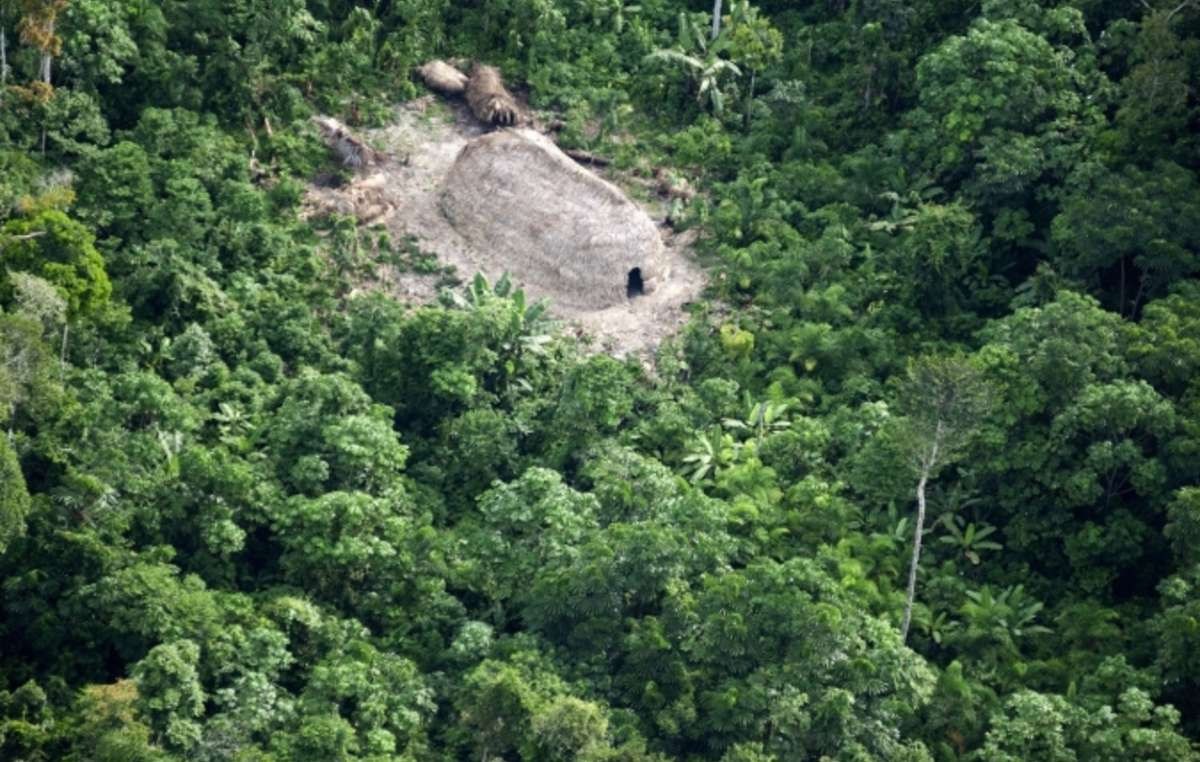 Uncontacted Indians' houses, Javari Valley, Brazil.