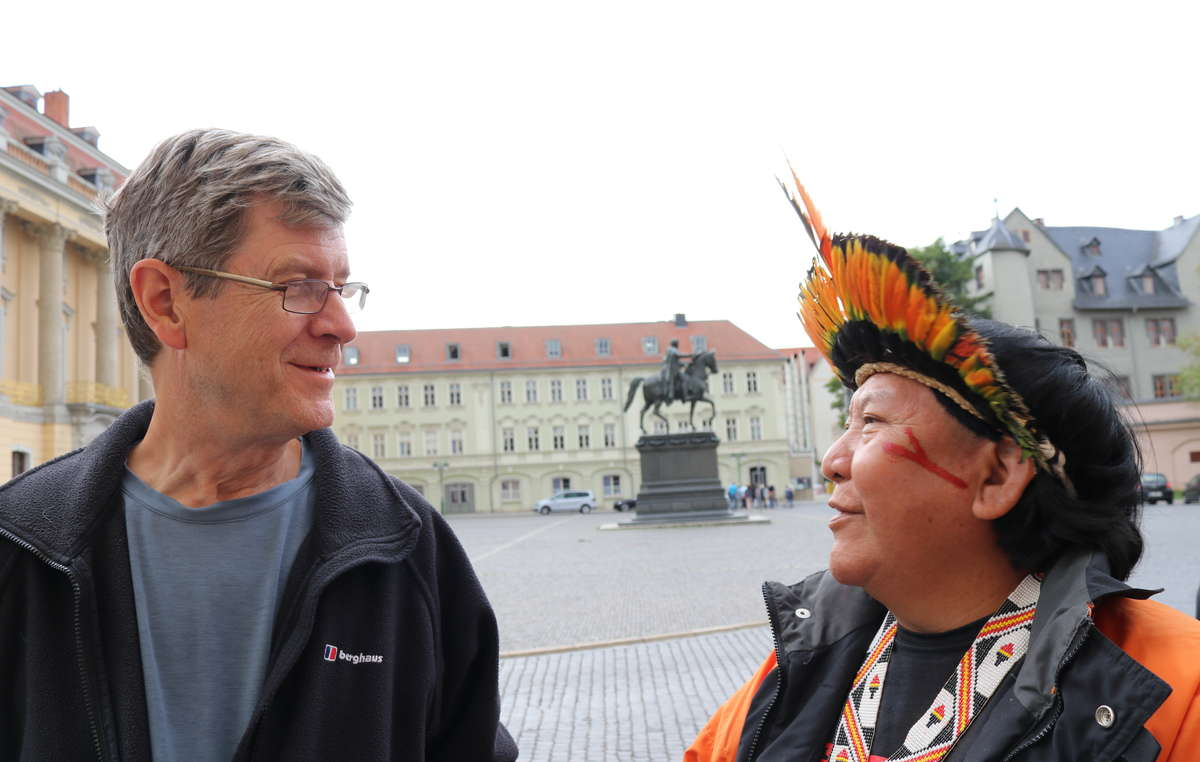 Davi and Survival's Director Stephen Corry in Weimar, Germany, on the occasion of Davi jointly receiving the Goethe Medaille with photographer and campaigner Claudia Andujar, 2018.