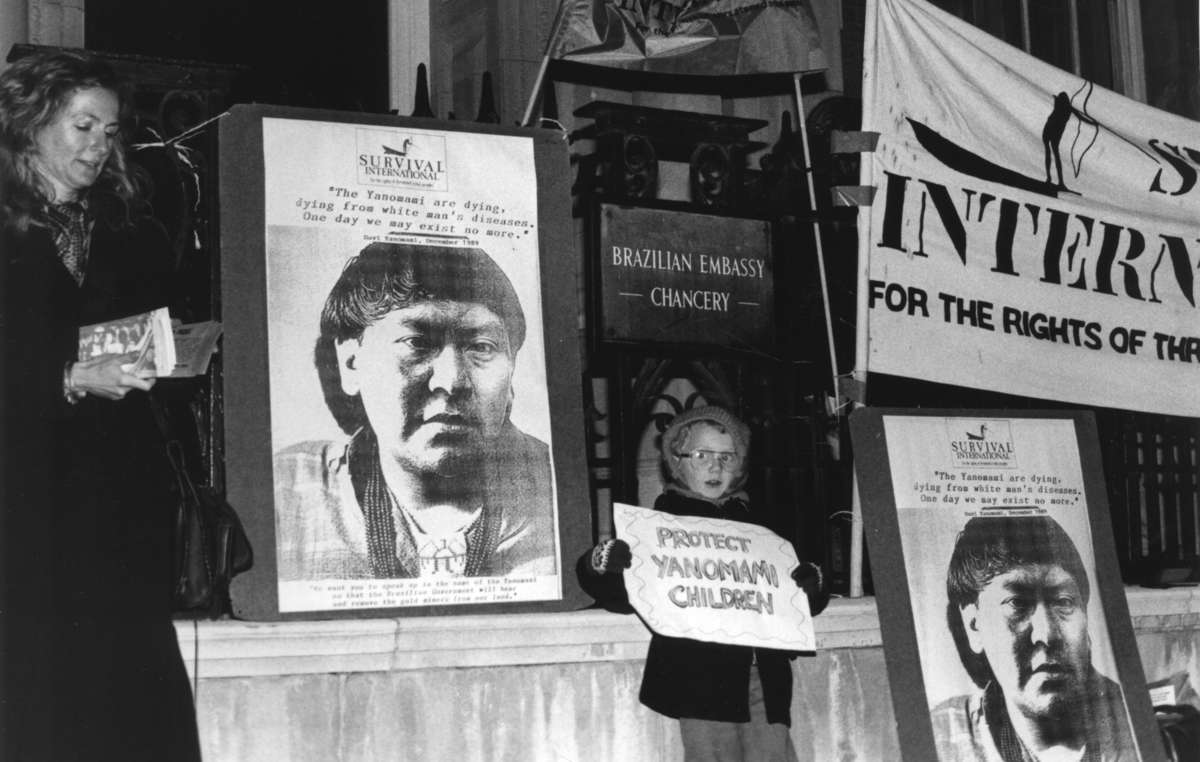 Survival International held a regular vigil for many years in the 1990s outside Brazilian Embassies in Europe, to protest the invasion and destruction of the Yanomami's territory.