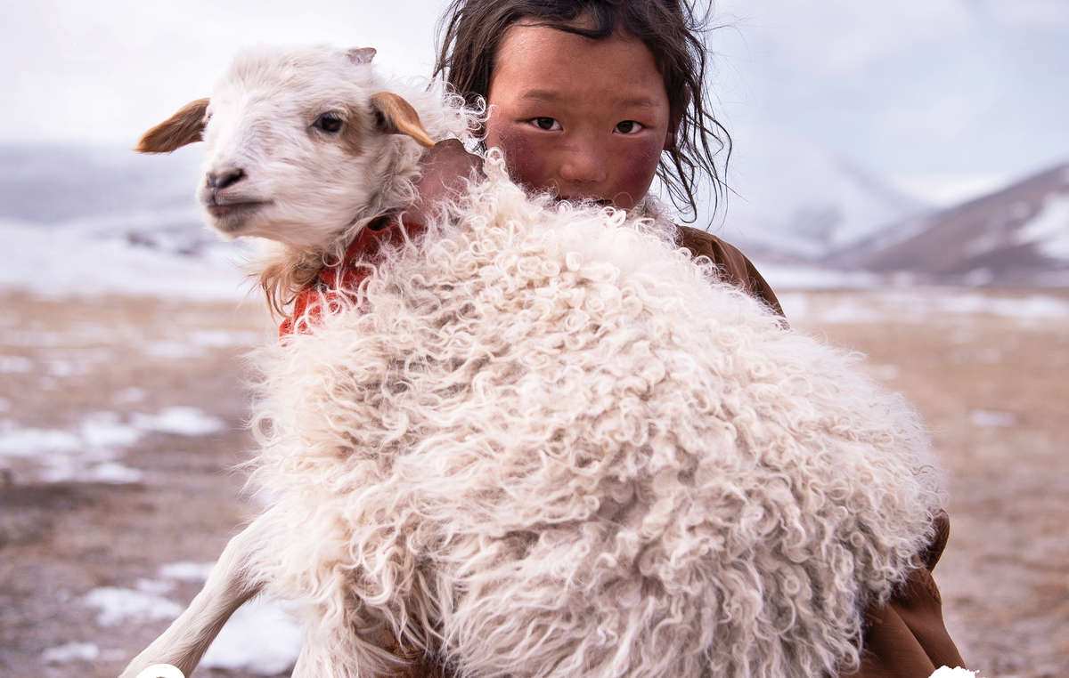Bambina tibetana, Tibet, 2018, nel calendario di Survival International 2020 - www.mattiapassarini.com