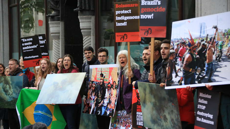 Protestors gathered outside Brazil's Embassy in the UK today, demanding that Environment Minister Ricardo Salles