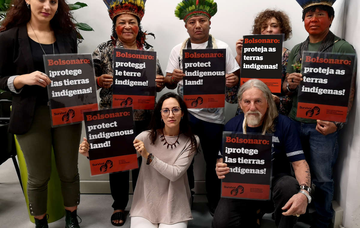Indigenous leaders Adriano Karipuna, José Luis Cassupa and Hozana Puruborá – visiting Rome during the Amazon Synod – tell President Bolsonaro to protect indigenous land alongside Survival International.