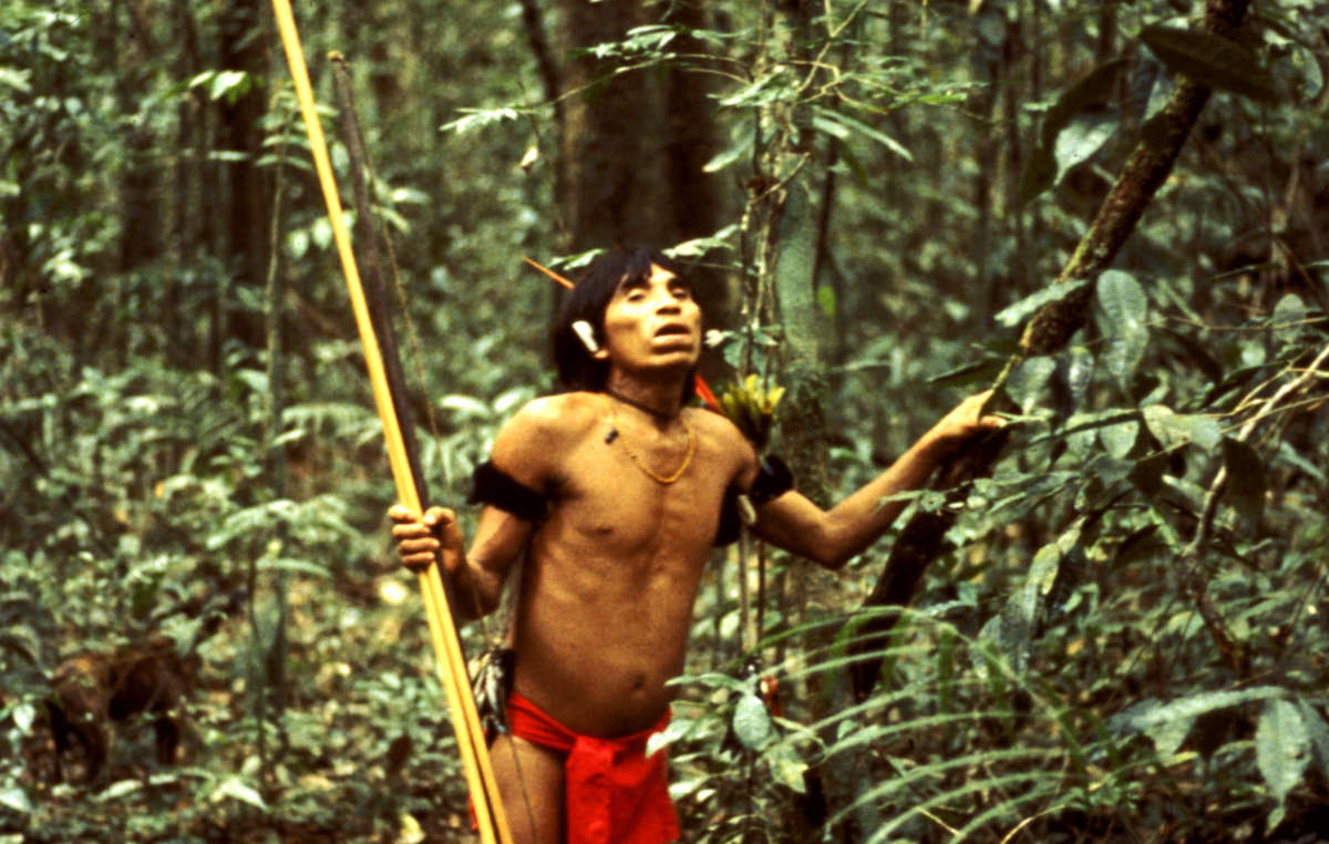 Yanomami hunter in the Venezuelan rainforest.