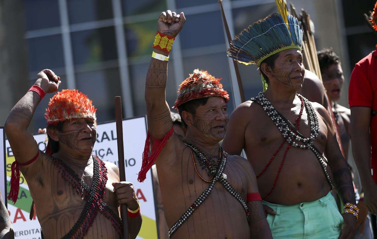 Munduruku people protest in front of the Ministry of Justice in Brazil, 2018