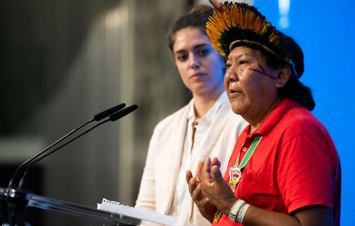 Davi Kopenawa Yanomami speaking at one of the events for this year's Right Livelihood Award