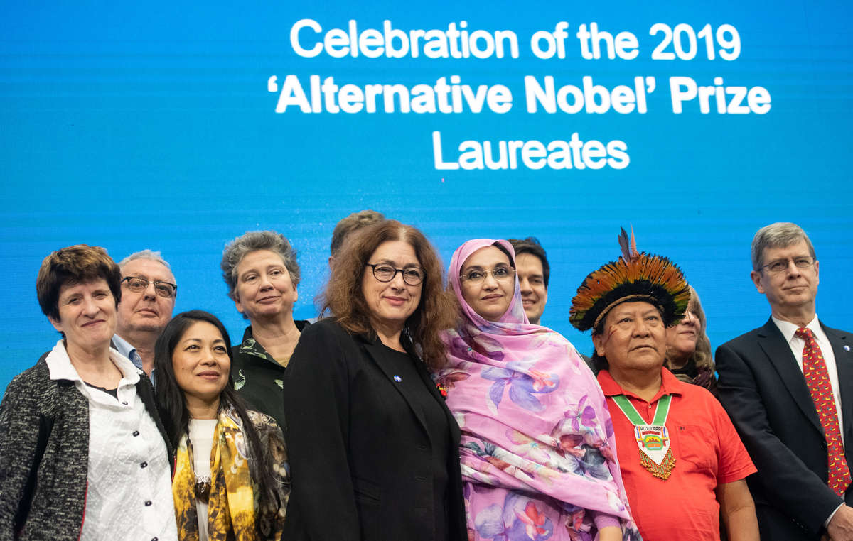 Davi Yanomami and the other laureates, with Survival's Director Stephen Corry