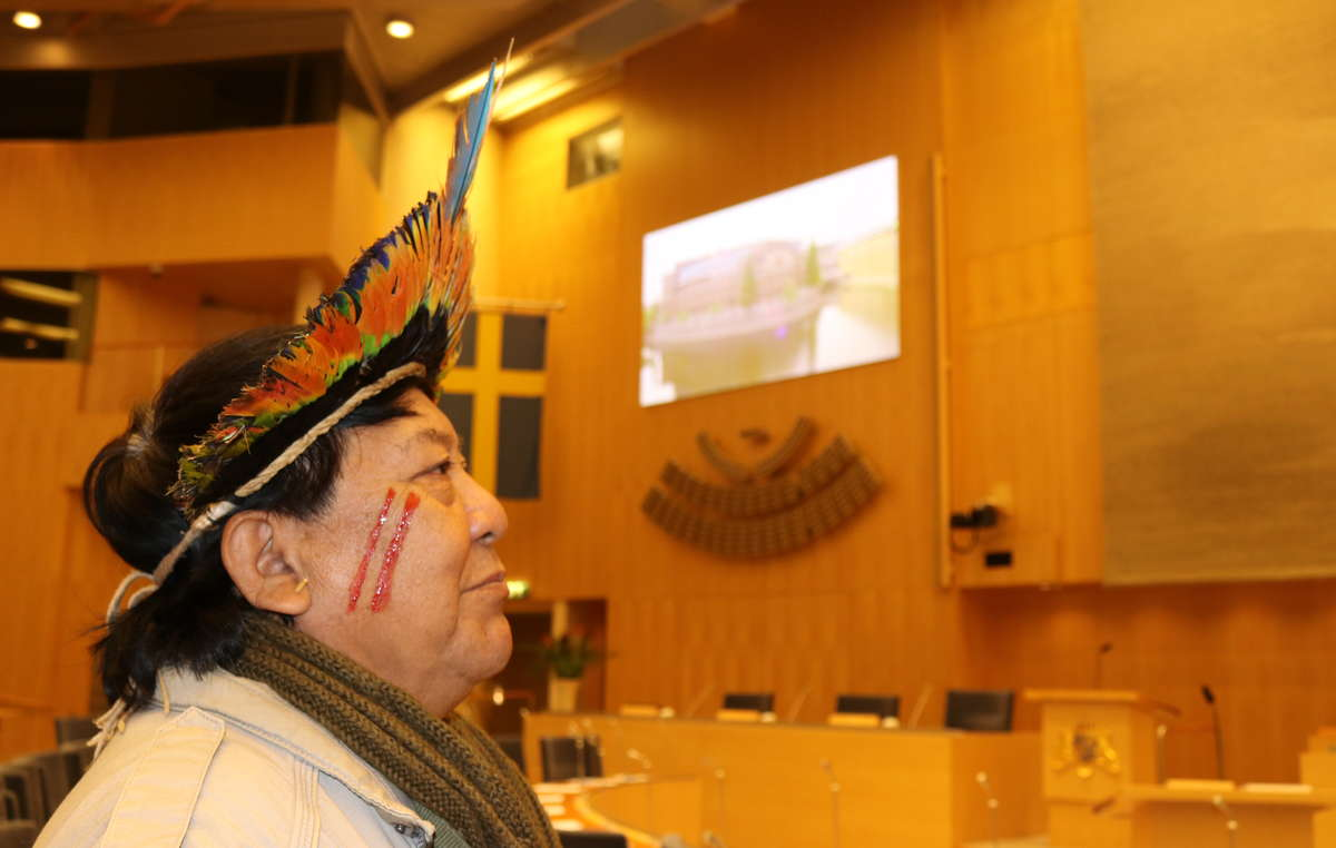 Davi Yanomami at the Swedish Parliament, Stockholm