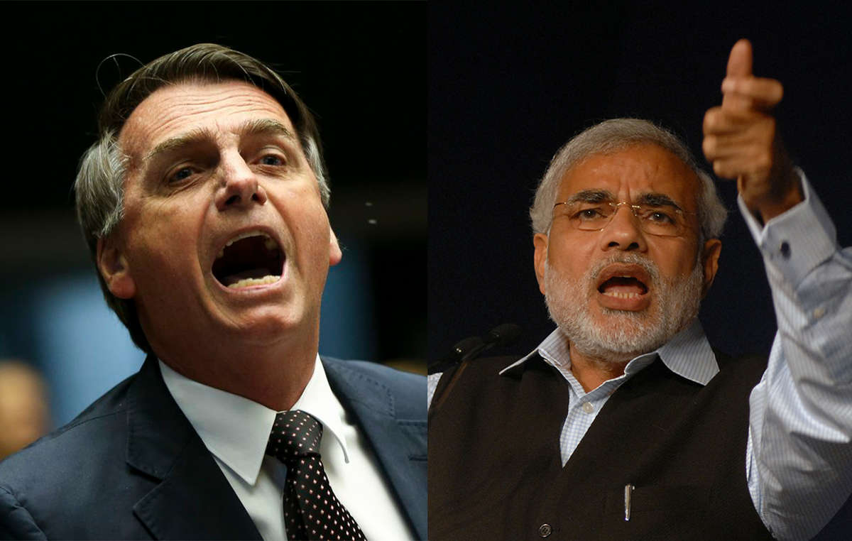 Brazil's President Jair Bolsonaro and India's Prime Minister Narendra Modi