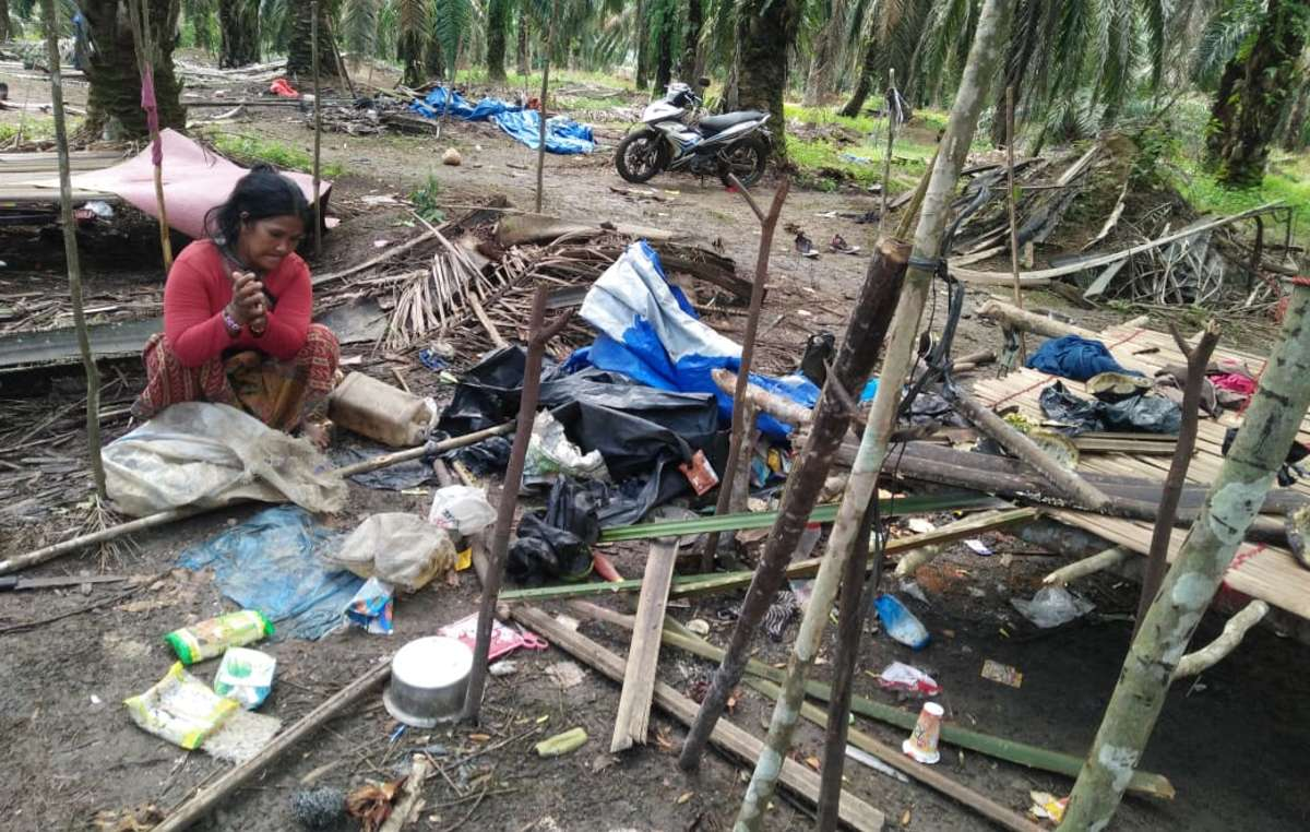 An Orang Rimba woman surveys the remains of her house and possessions which have been destroyed by an angry mob. The attack happened after Orang Rimba tried to collect fallen oil palm fruits on their ancestral lands, so they could feed their families during the pandemic.