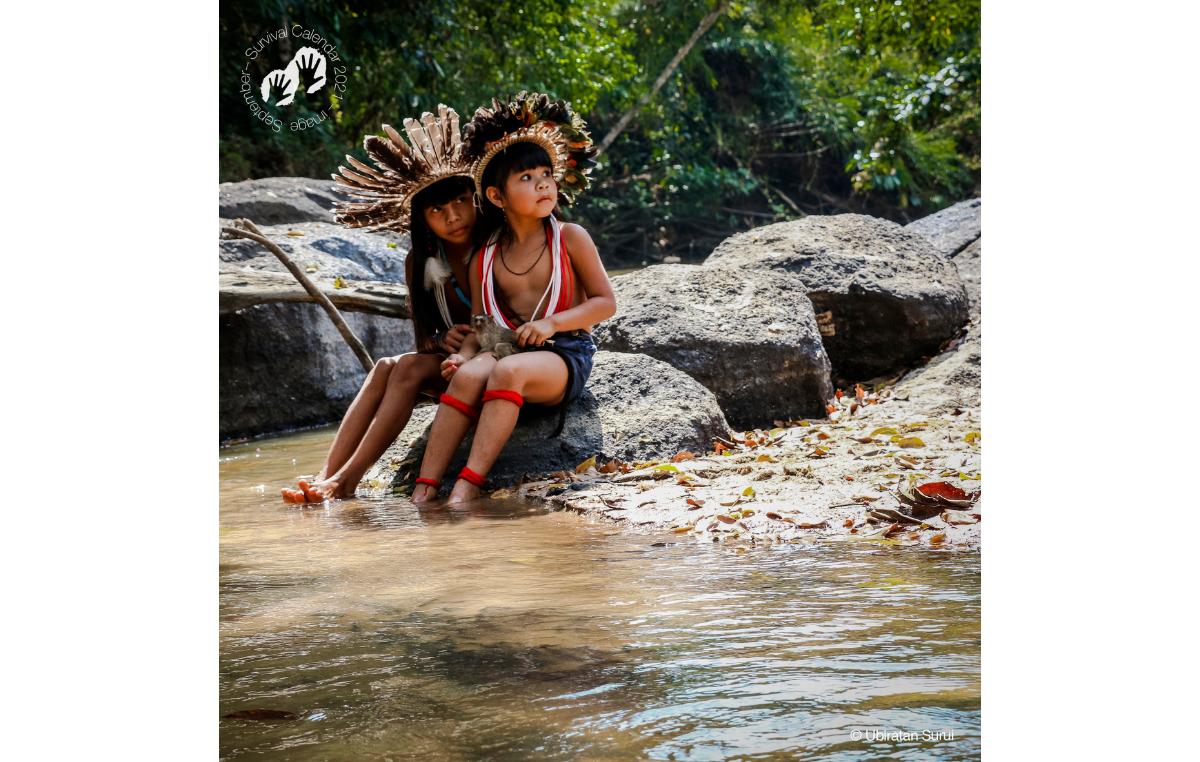 Calendário Survival 2021. Imagem do mês de setembro. Povo Paiter Surui, Rondônia, 2017.