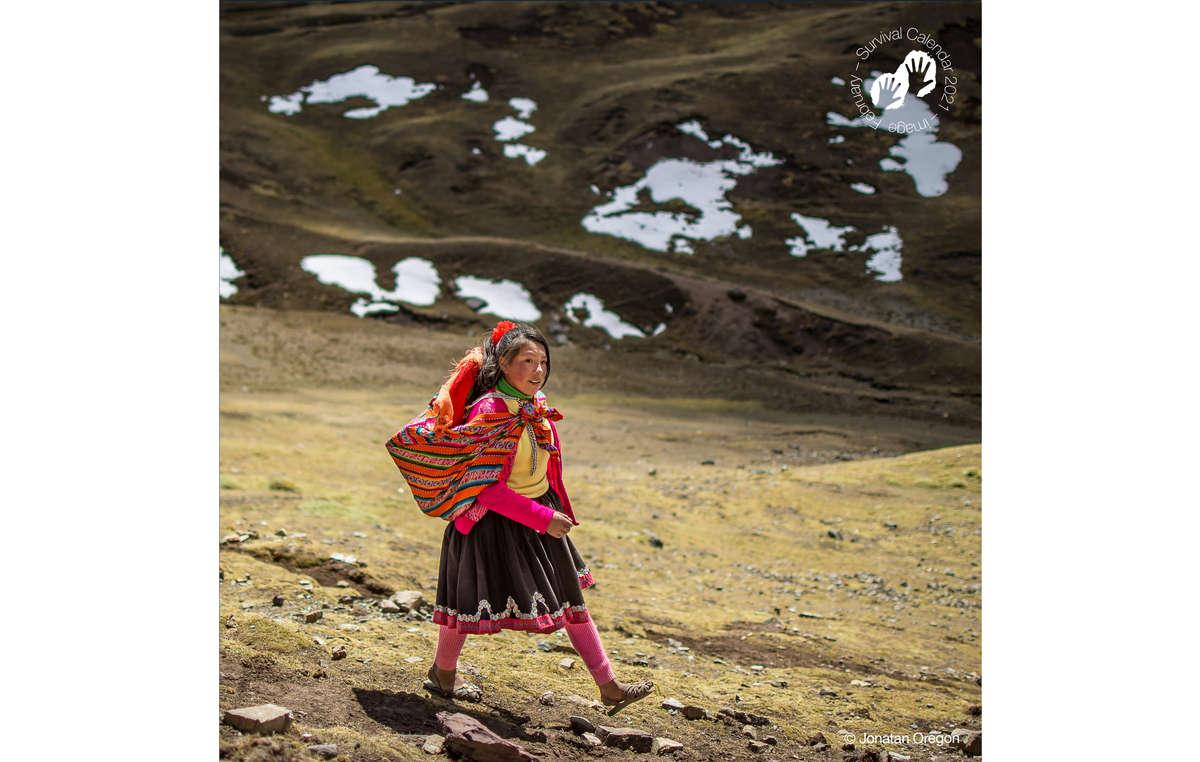Survival Calendar Survival 2021. February. Quechua, Peru, 2018.