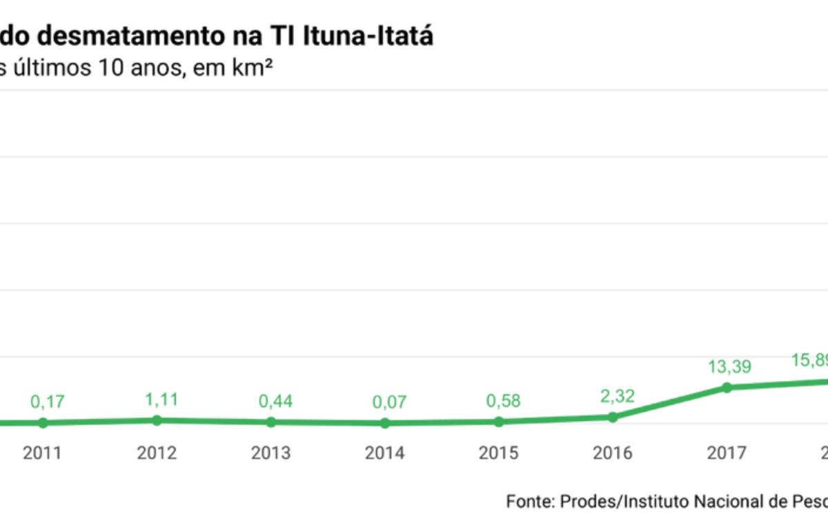 Gráfico que muestra el rápido aumento de la deforestación en el Territorio Indígena Ituna Itatá, Brasil, habitado exclusivamente por indígenasno contactados.