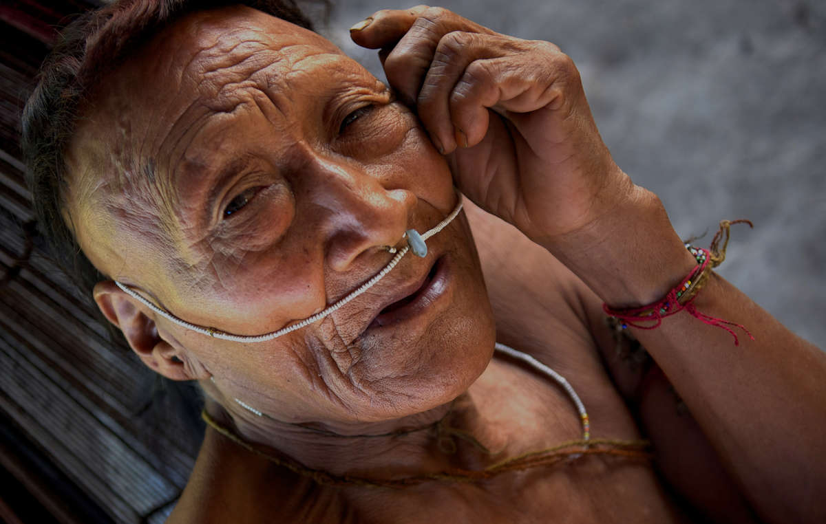 Raya, a Nahua elder. More than half his people were wiped out after their land was opened up for oil exploration, Peru.