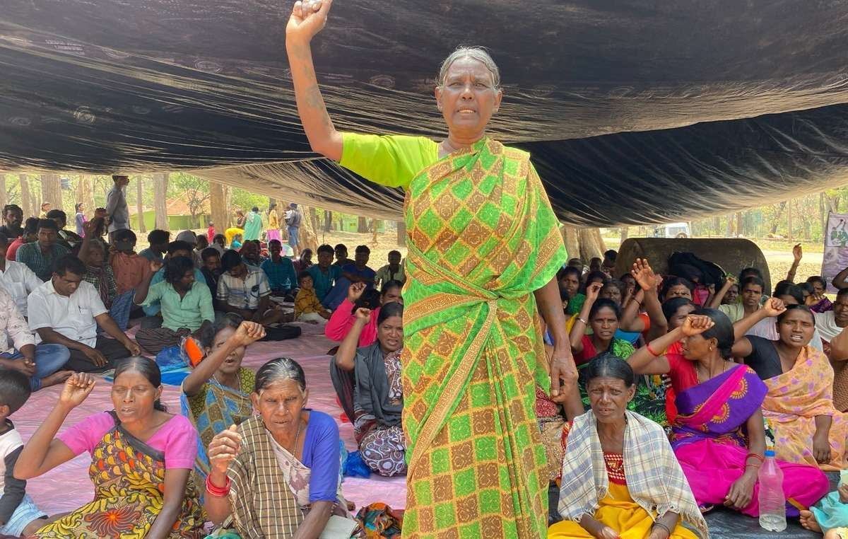 Shanti, from the Jenu Kuruba tribe, protests with her people outside the Nagarhole National Park, India.