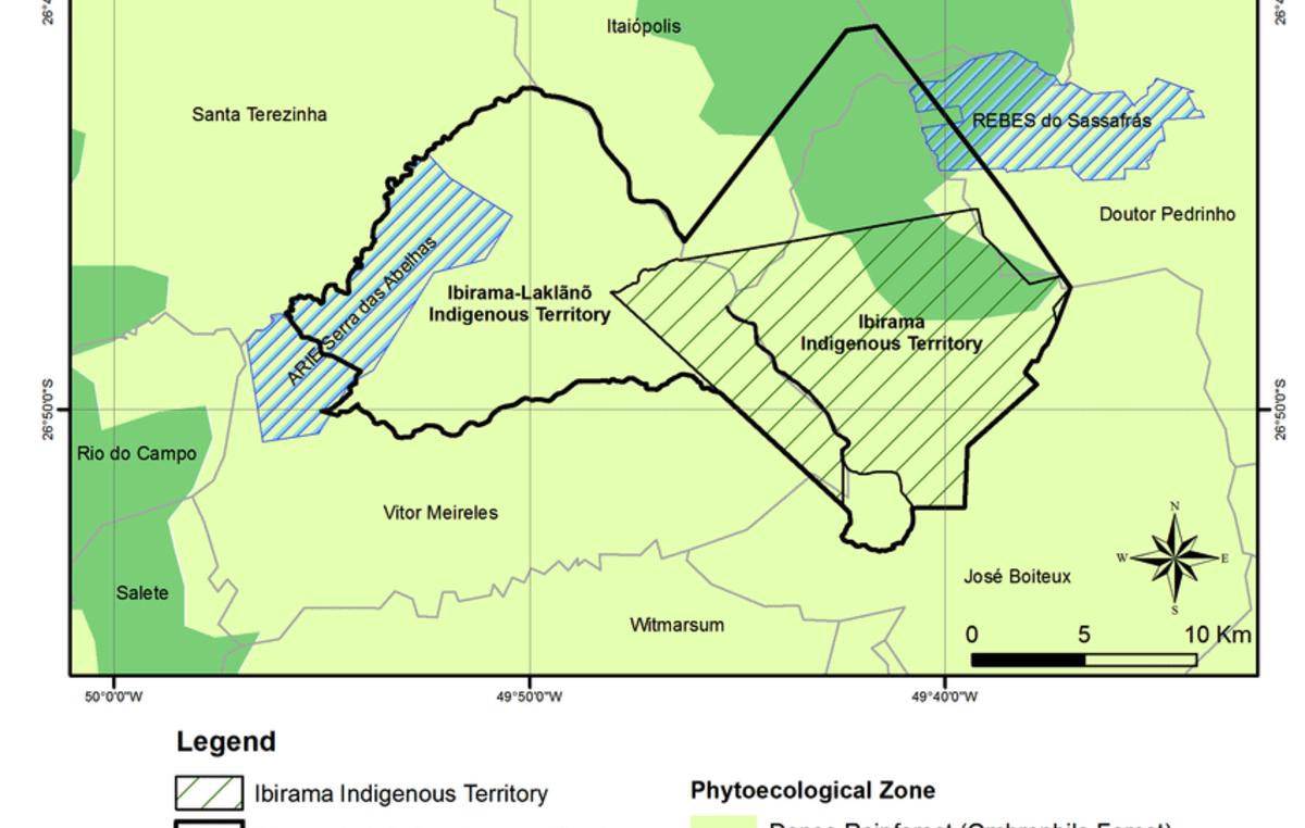 Karte des derzeitigen (Ibirama) und des geplanten (Ibirama La Klãnõ) indigenen Territoriums. Die Erweiterung des Gebiets ist der Grund für den Rechtsstreit.