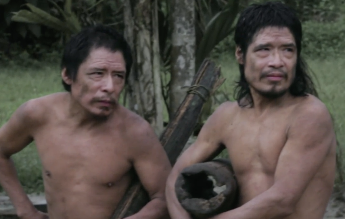 Piripkura men Tamandua and Baita, photographed during an encounter with a FUNAI unit. The two men, who are nephew and uncle, have had sporadic interactions with the local FUNAI team, but returned to live in the forest. Their territory is shielded by the Land Protection Orders, but at imminent risk of being overrun by loggers and landgrabbers.
