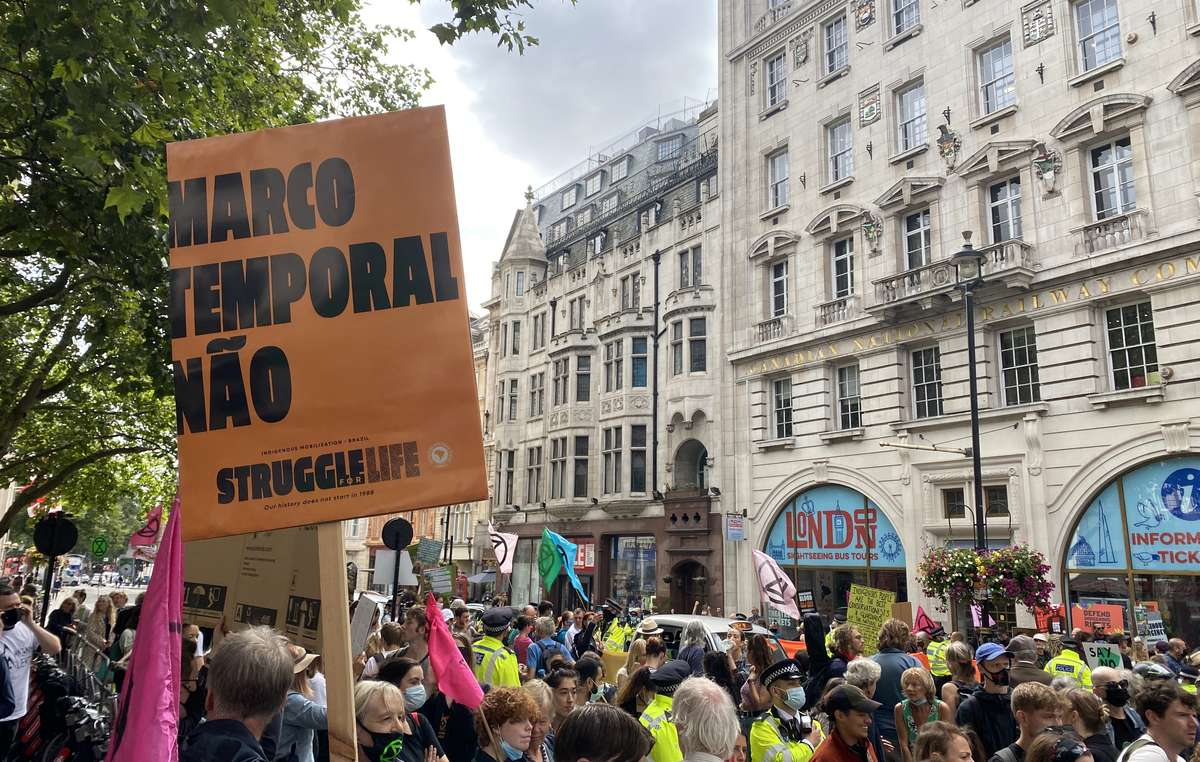 Protest outside Brazilian Embassy in London on the day the Supreme Court begins its ruling on the Time Limit Trick.