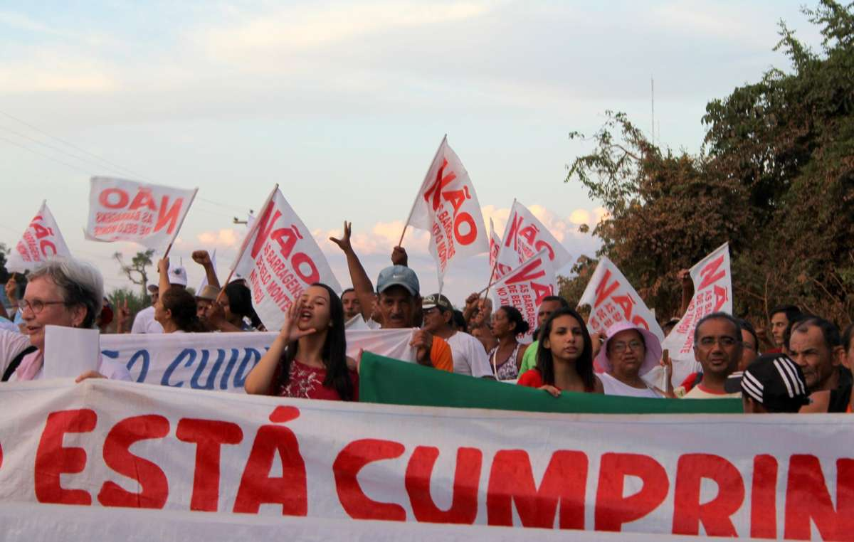 Protesters gathered in the city of Altamira on August 19, 2011, calling for the halt of the controversial mega-dam project of Belo Monte underway in the Brazilian Amazon.