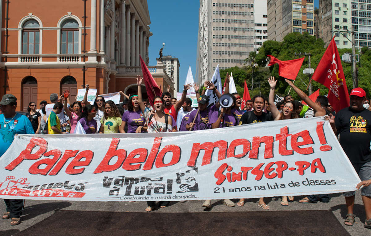 Brazilians protest against Belo Monte dam in the Amazonian city of Belém, August 2011.