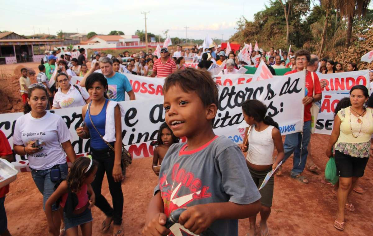 Belo Monte protesters gathered on August 19, 2011 in Altamira, Brazil. The controversial mega-dam project currently underway on the Xingu River in the Brazilian Amazon poses a serious threat to the lives of thousands of people, who depend upon the rivers and forests for survival.