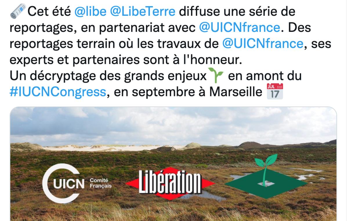 Capture d'écran d'une publication de l'UICN concernant son partenariat avec Libération