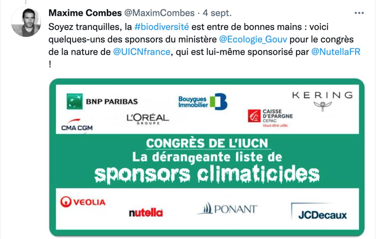 Capture d'écran d'une publication de Maxime Combes concernant les sponsors du congrès mondial de la nature organisé par l'UICN à Marseille en septembre 2021.