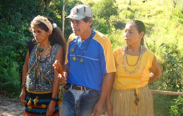 Guarani inhabitants from the Ypo'i community, Mato Grosso do Sul, Brazil. The lives and livelihood of the Guarani Indians in Mato Grosso do Sul are being seriously damaged by the denial of land rights.
