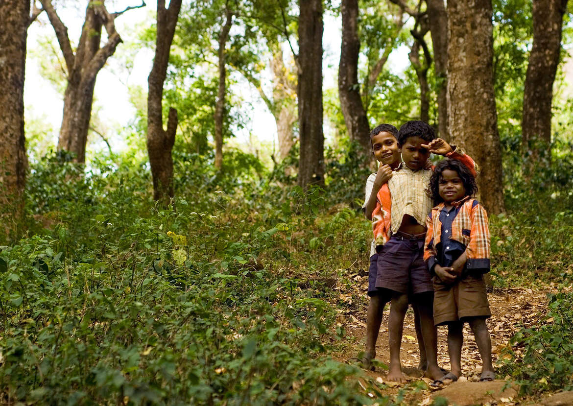Soliga boys play in a forest clearing in one of India's tiger reserves