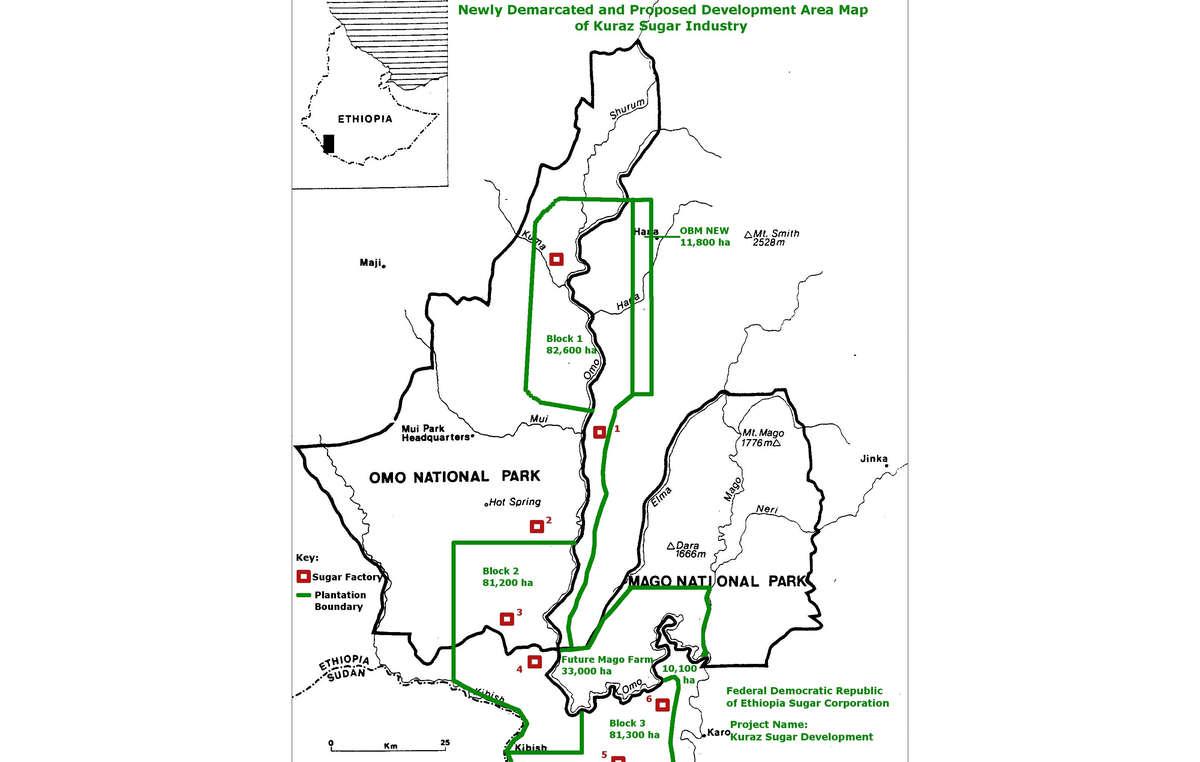 Mapa de las concesiones para el cultivo de caña de azúcar en las tierras de pueblos tribales. (click para aumentar)