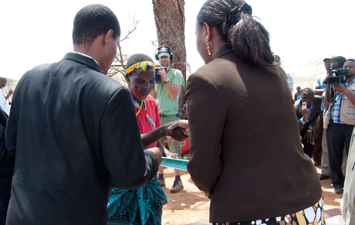 The Hazda tribe's land titles being formally handed over at a special ceremony